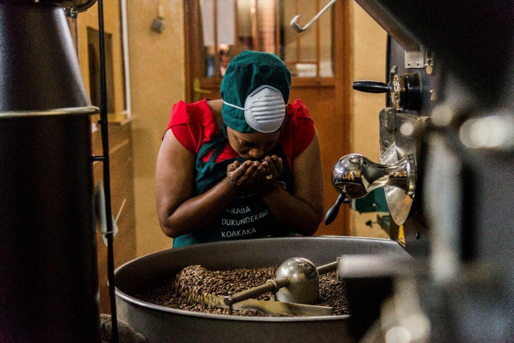 Frau gebeugt über Kaffeebohnen. Sie hält Bohnen in der Hands und riecht an diesen.