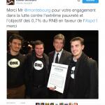 Arnaud Montebourg a signé le manifeste de ONE le 9 janvier 2017
