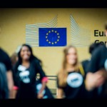 ONE Youth Ambassadors converge on the European Parliament in Brussels to lobby MEPs to sign the ONE VOTE 2014 pledge.  Photo: ONE