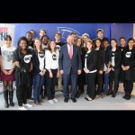 MEP Martin Schulz, President of the European Parliament, signing the pledge with ONE Youth Ambassadors.  Photo: ONE