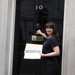 ONE UK's Saira delivers our petition with thousands of signatures to the home of the Prime Minister David Cameron, just before he leaves for the G20 Summit.  Photo: ONE