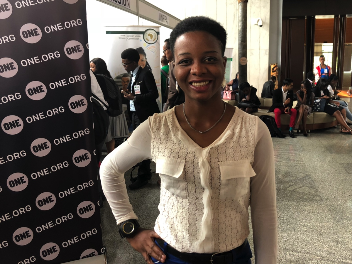 Adewuyi Roseline Adebimpe, ONE Champion 2017, at the AU Pan-African Youth Forum.