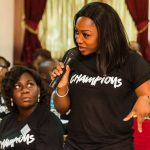 ONE Champion Titilayo Ogunbambi asks a question during the Emotional Intelligence session.