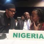 President Muhammadu Buhari, Nigeria, met de ONE Afrika Directrice Dr. Sipho Moyo. Foto: ONE