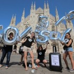 Italian Youth Ambassadors campaigning for 50% of aid to go to the poorest, in Milan. Photo: ONE