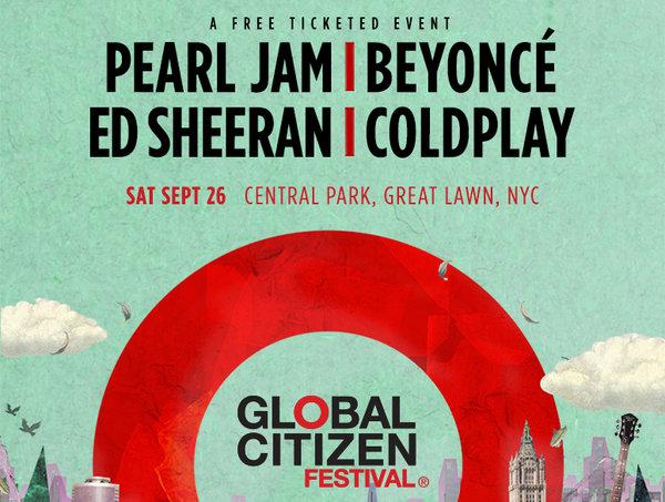 Beyoncé, Pearl Jam, Coldplay, Ed Sheeran play Global Citizen in NYC
